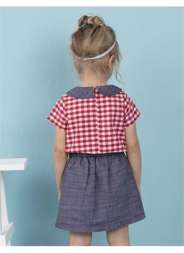 Ollie & olla Mavi Yakalı Ekose Kız Bluz Kırmızı